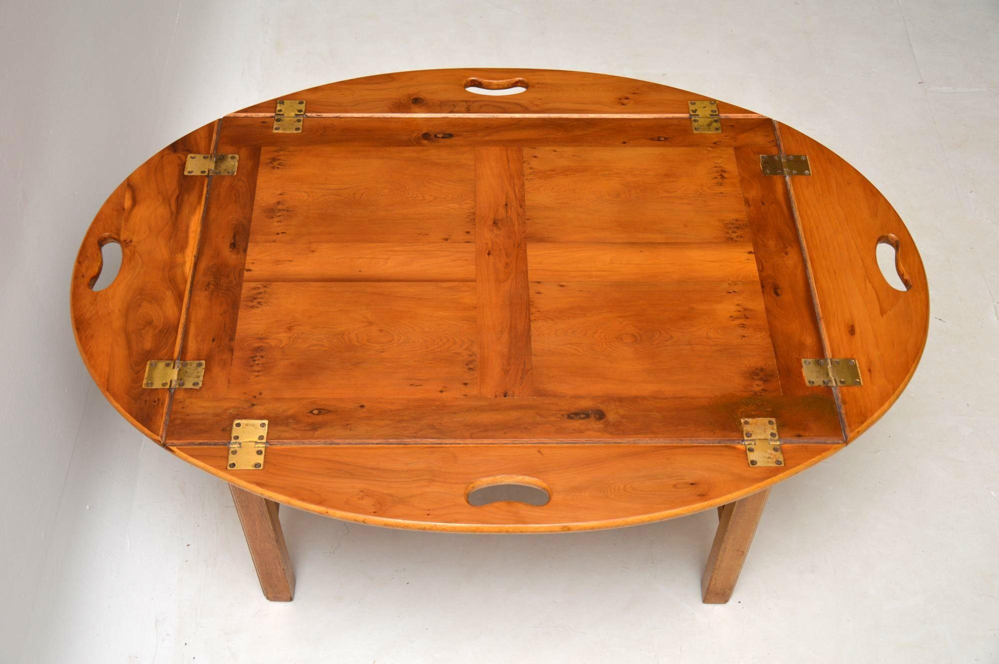 Incroyable Antique Georgian Style Yew Wood Butlers Tray Coffee Table