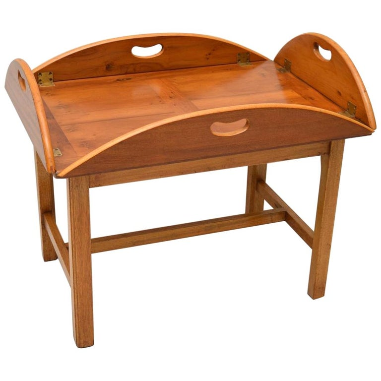 Antique Georgian Style Yew Wood Butlers Tray Coffee Table ...