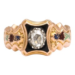Antique Georgian Swiss Enamel and Diamond Ring, circa 1820