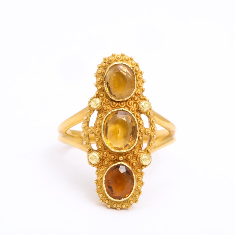 George III Antique Georgian Three Stone Cannetille Citrine Ring For Sale