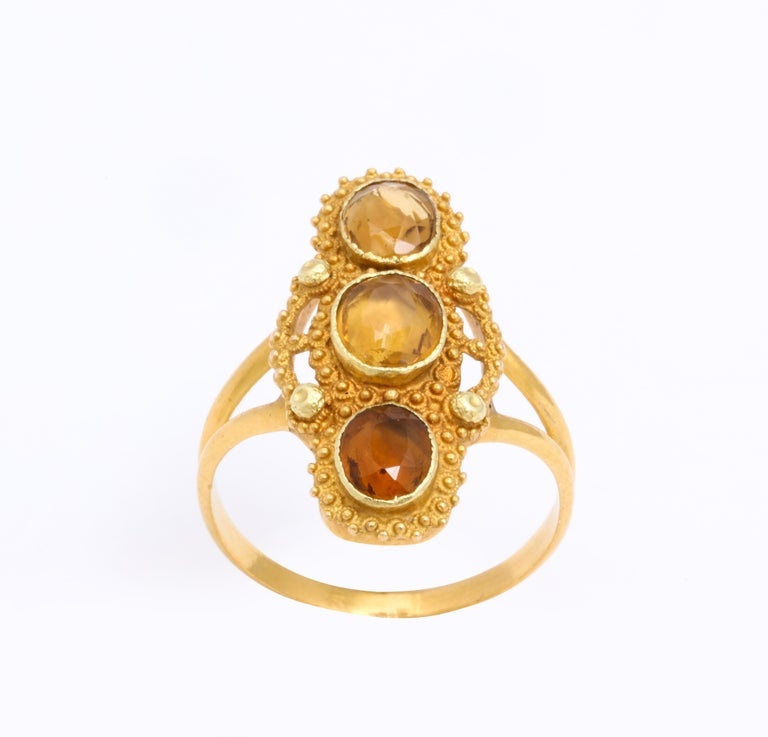 Oval Cut Antique Georgian Three Stone Cannetille Citrine Ring For Sale