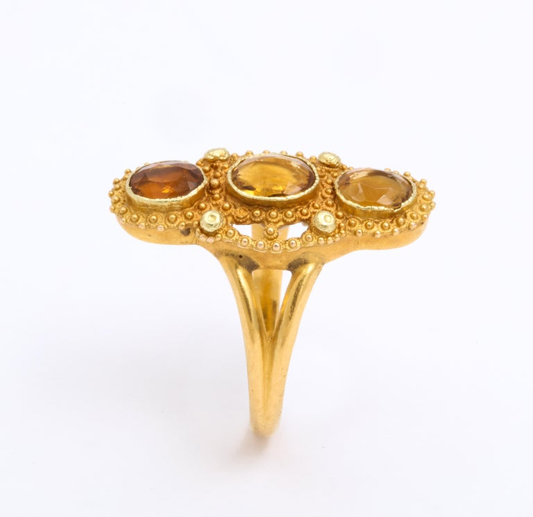 Women's Antique Georgian Three Stone Cannetille Citrine Ring For Sale
