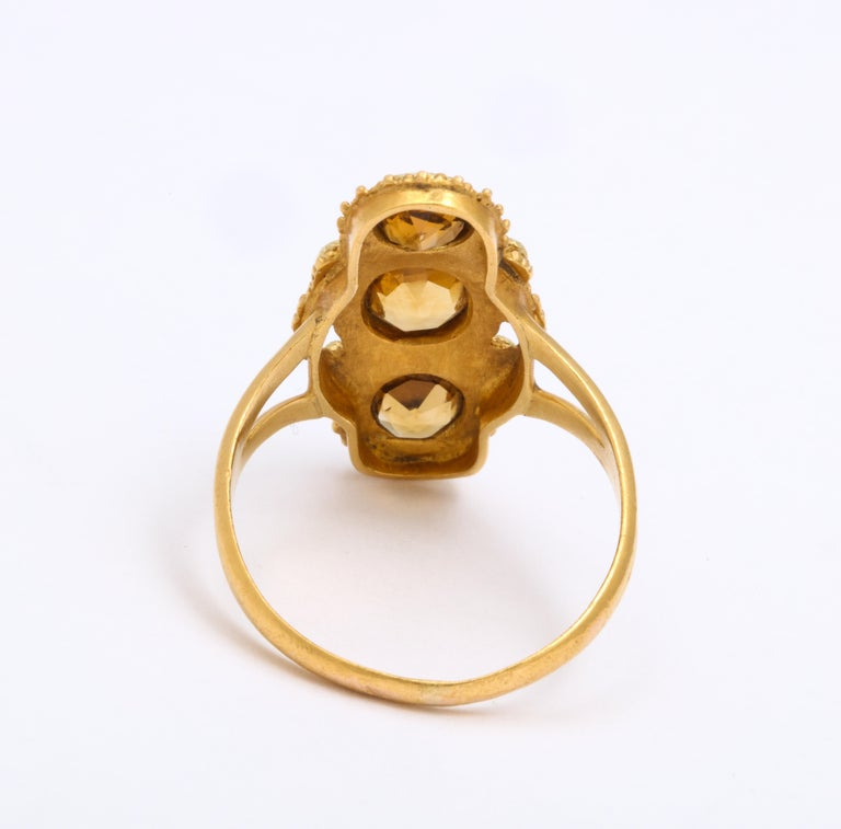 Antique Georgian Three Stone Cannetille Citrine Ring For Sale 1