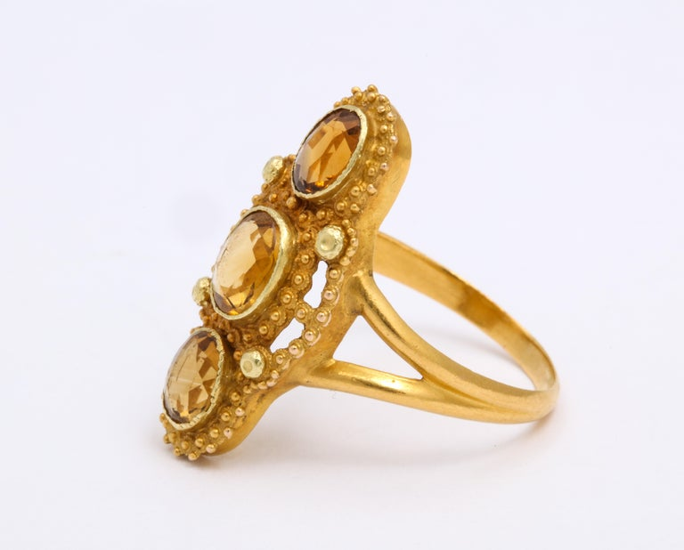 Antique Georgian Three Stone Cannetille Citrine Ring For Sale 2