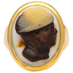 Antique Georgian Three Strata Cameo Ring of a Moor