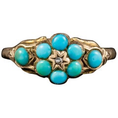 Antique Georgian Turquoise Diamond Ring Dated Birmingham, 1819