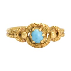 Antique Georgian Turquoise Lover's Knot Ring
