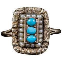 Antique Georgian Turquoise Pearl Ring 18 Carat Gold, circa 1830