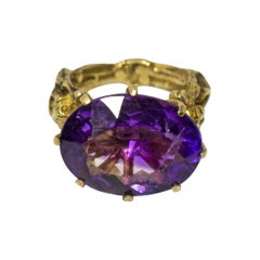 Antique Georgian Victorian Momento Mori Gold 14 Karat Amethyst Skeletons Ring
