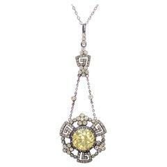 Antique Georgian Yellow Paste Stone Drop Pendant Necklace Silver, circa 1800