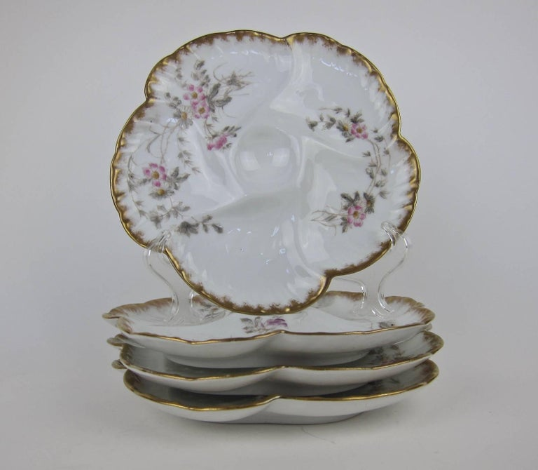 Aesthetic Movement Antique Limoges Porcelain CFH / GDM Oyster Plates, 1880s For Sale