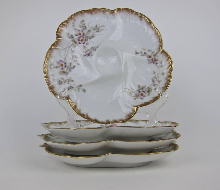 French Antique Limoges Porcelain CFH / GDM Oyster Plates, 1880s For Sale