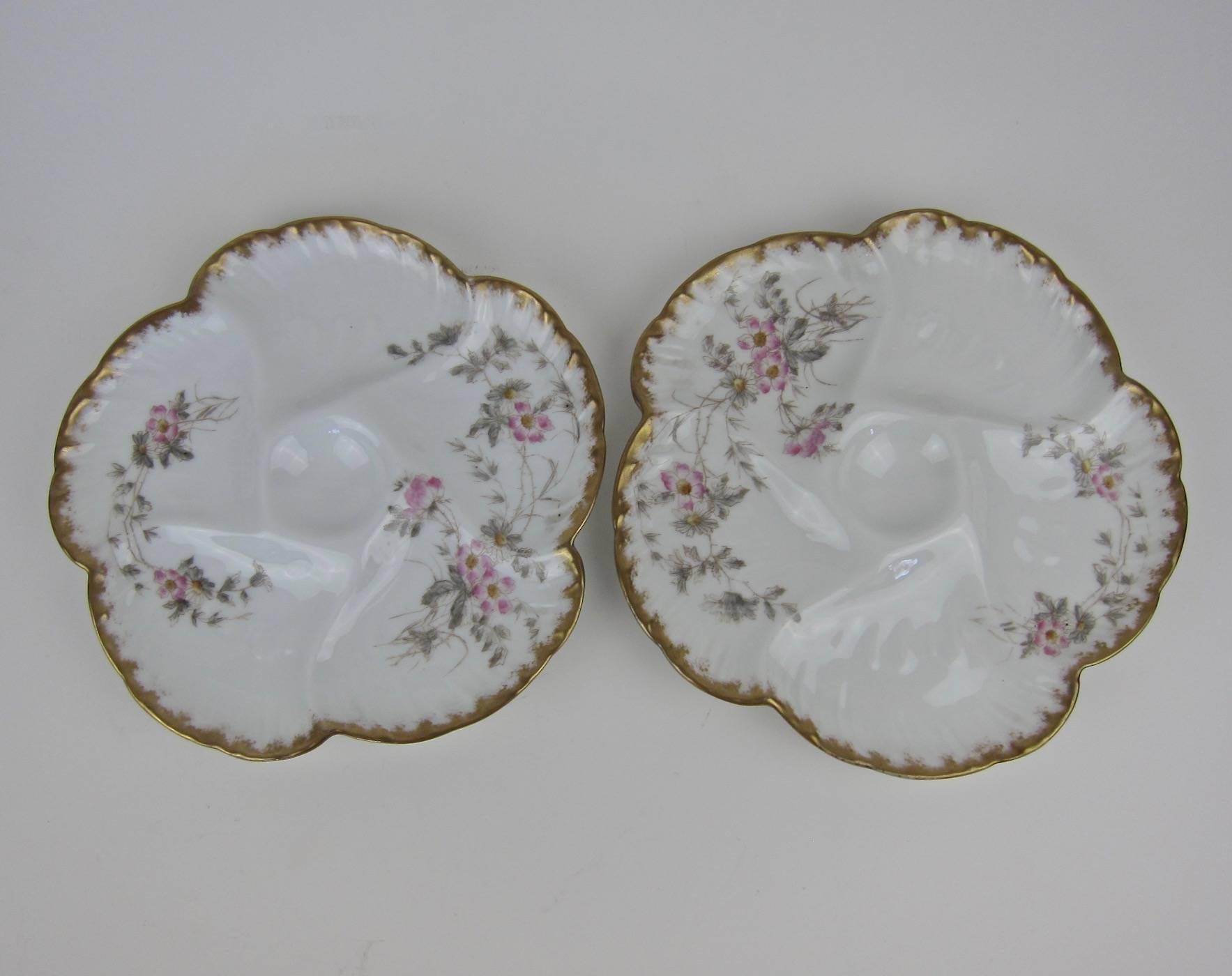 Antique Gerard Dufraisseix and Morel Limoges Porcelain Oyster Plates CFH / GDM For Sale at 1stdibs & Antique Gerard Dufraisseix and Morel Limoges Porcelain Oyster Plates ...