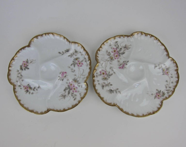 Hand-Painted Antique Limoges Porcelain CFH / GDM Oyster Plates, 1880s For Sale