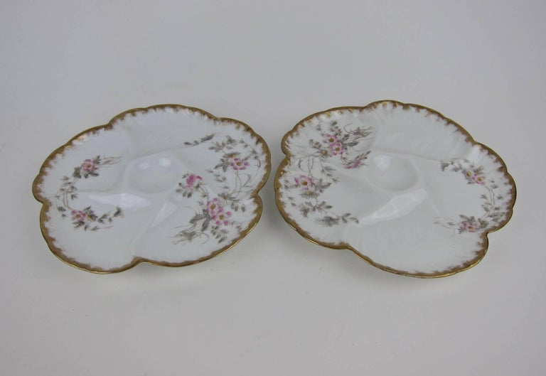Antique Limoges Porcelain CFH / GDM Oyster Plates, 1880s In Good Condition For Sale In Los Angeles, CA