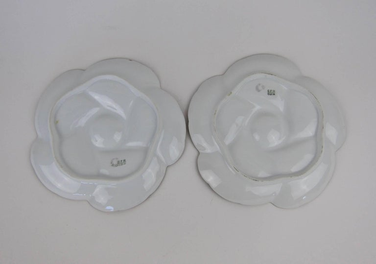 19th Century Antique Limoges Porcelain CFH / GDM Oyster Plates, 1880s For Sale