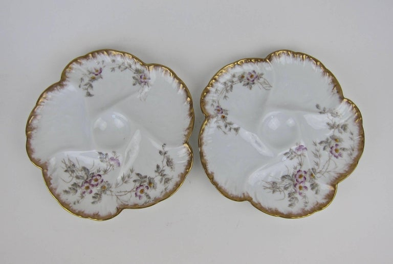 Antique Limoges Porcelain CFH / GDM Oyster Plates, 1880s For Sale 1