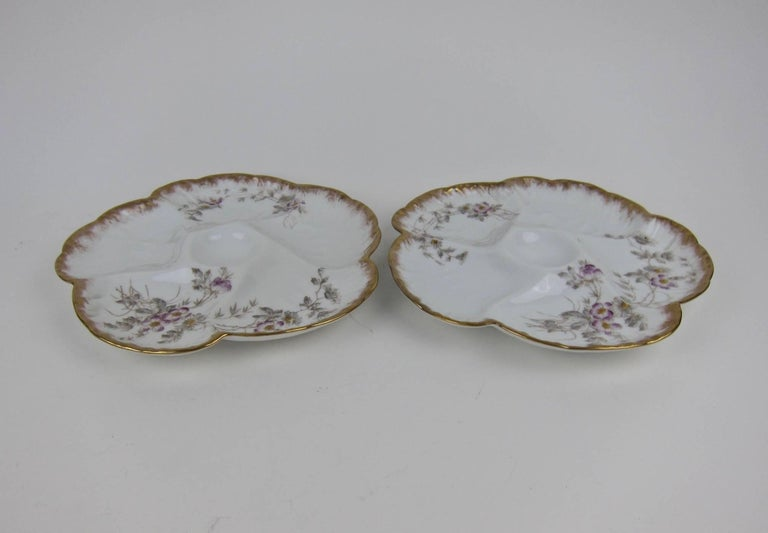 Antique Limoges Porcelain CFH / GDM Oyster Plates, 1880s For Sale 2