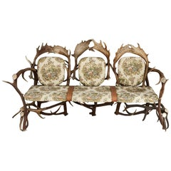 Antique German Antler Settee with Rococo Style Upholstery