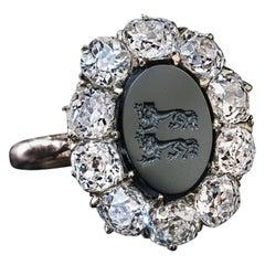 Antique German Armorial Intaglio Old Mine Cut Diamond Cluster Ring