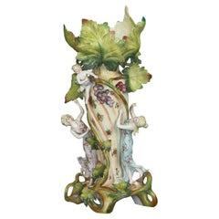 Antique German Art Nouveau Figural Saxony Porcelain Vase, Circa 1900
