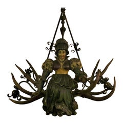 Antique German Bavarian Carved Wood Tavern Chandelier, circa 1890