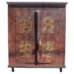 Antique German Bavarian Hand Painted pine Cabinet/ Armoire/ Kas, circa 1780