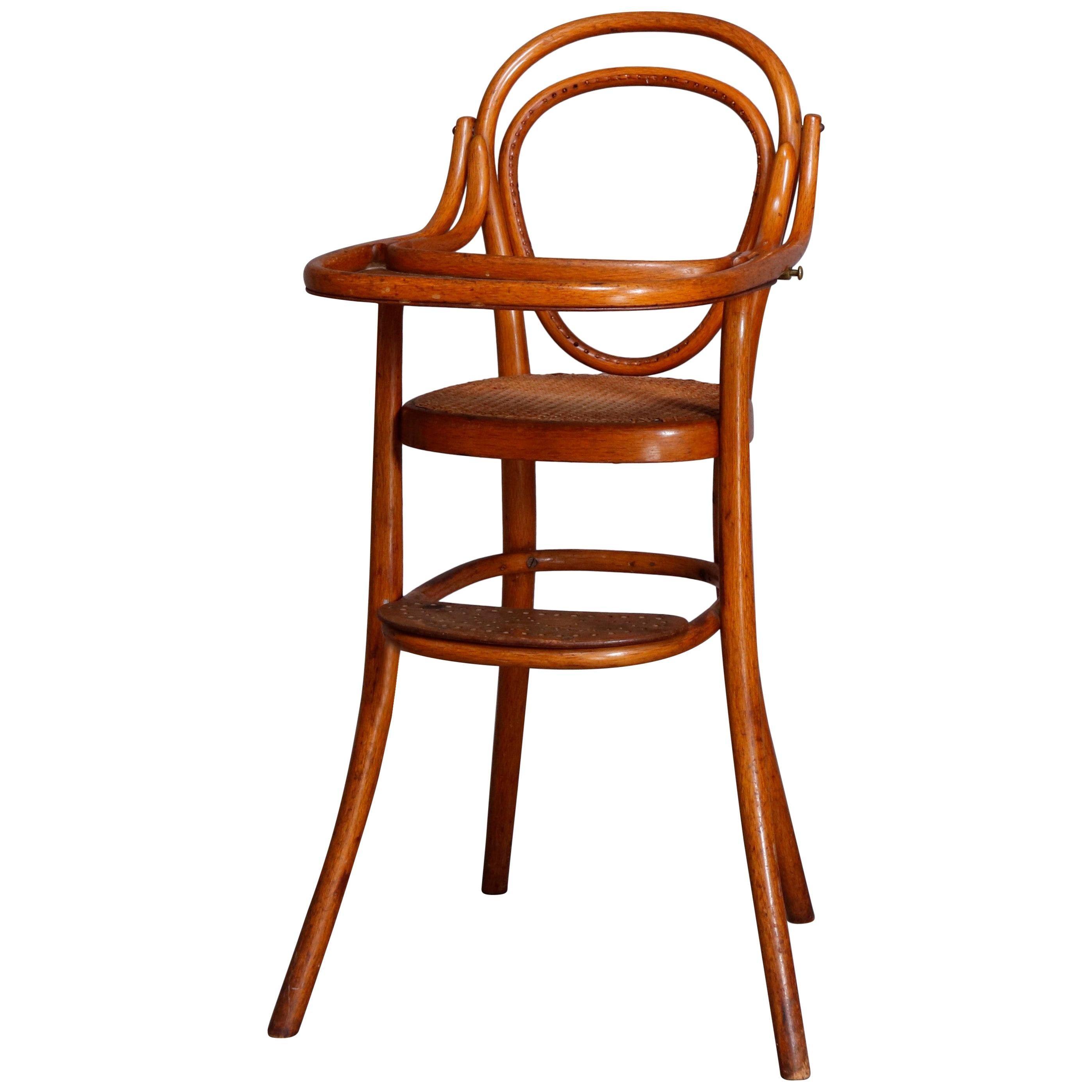 Antique German Bentwood & Cane Child's High Chair by Michael Thonet 19th Century