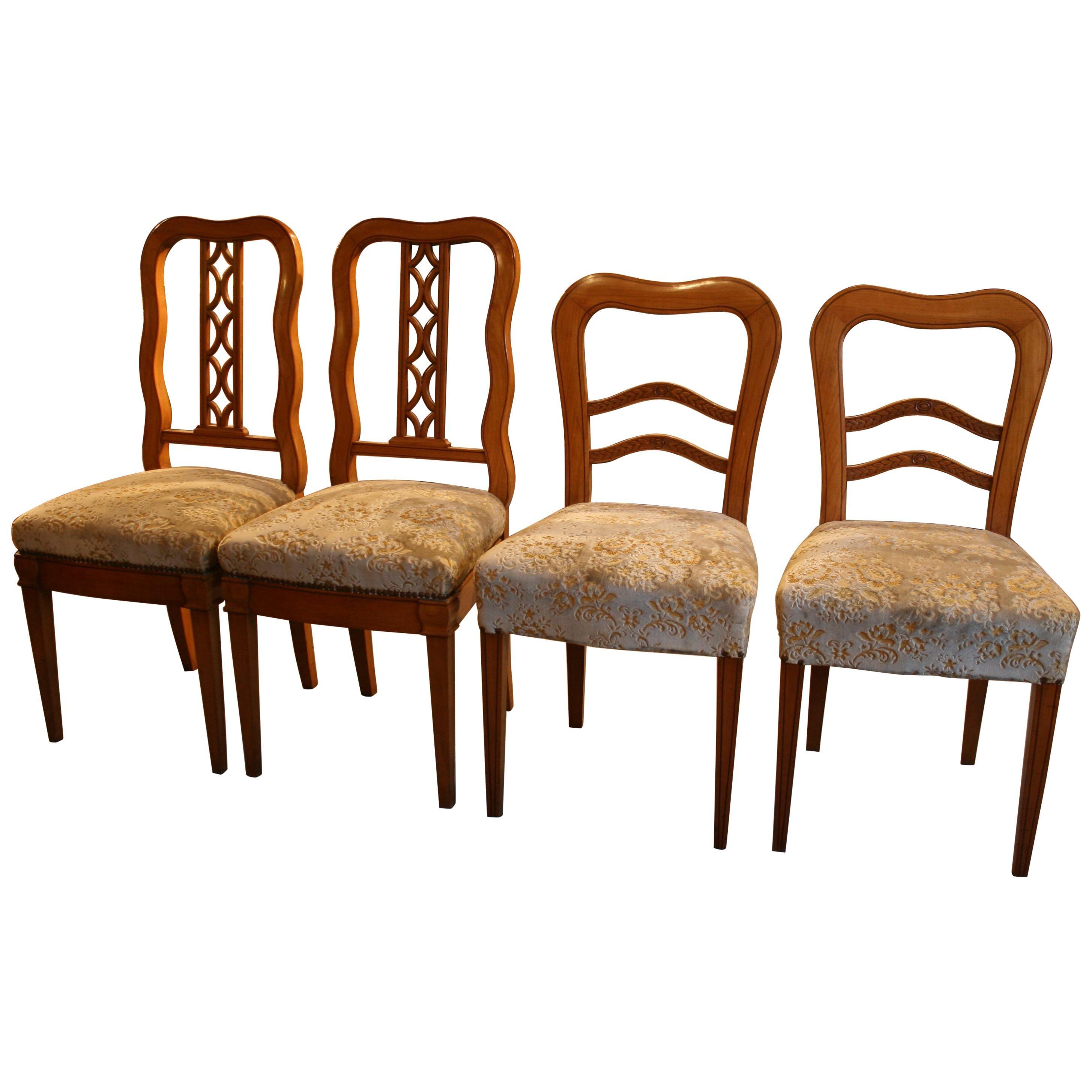 Antique German Biedermeier Chairs, Set of 4, Fruitwood, circa 1840