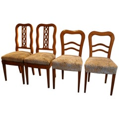 Antique German Biedermeier Chairs, Set of 4, Fruitwood, circa 1840