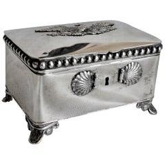 Antique German Biedermeier Footed Silver Sugar Chest or Box