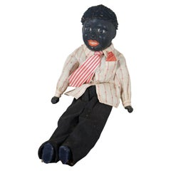 Antique German Bisque Black Ebony Young Boy Character Doll Cloth Body