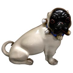 Antique German Black Faced Seated Pug Dog