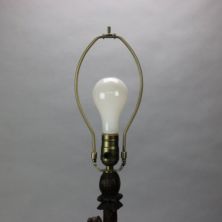 Antique German Black Forest Carved Violin Musical Group Table Lamp, c1880 For Sale 6