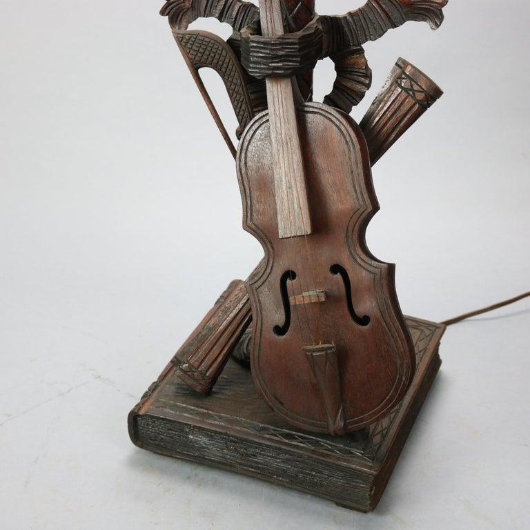 Folk Art Antique German Black Forest Carved Violin Musical Group Table Lamp, c1880 For Sale