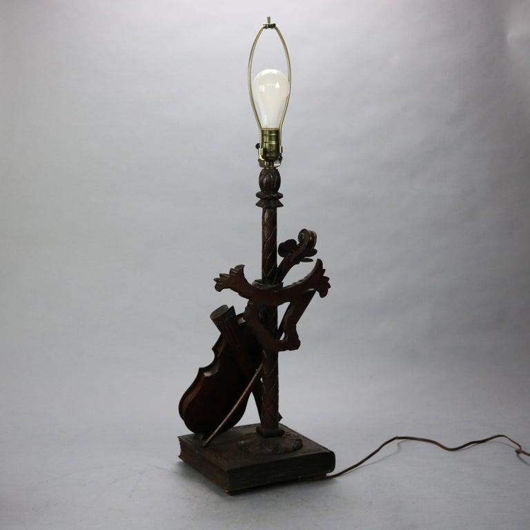 Antique German Black Forest Carved Violin Musical Group Table Lamp, c1880 For Sale 1
