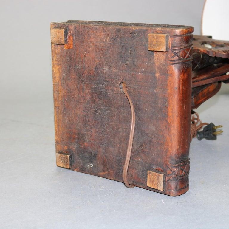 Antique German Black Forest Carved Violin Musical Group Table Lamp, c1880 For Sale 2