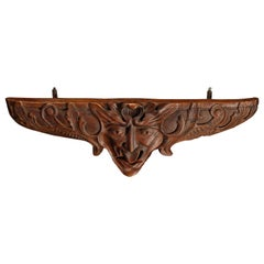 Antique German Black Forest Figural Hand Carved Wall Shelf, circa 1890