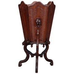Antique German Black Forest Hand Carved Walnut Plant Stand Basket, circa 1890