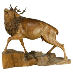 Antique German Black Forest Hand Carved Wood Stag, circa 1890