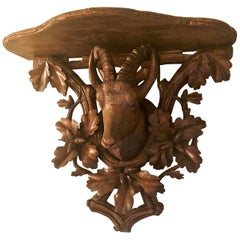 Antique German Black Forest Walnut-Carved Shelf, circa 1890-1900