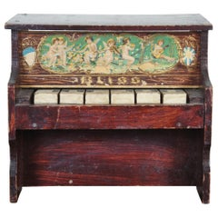 Antique German Bliss Miniature Upright Toy Piano Glockenspiel Lithograph Wood