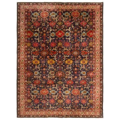 Antique German Blue and Red Rug with Floral Patterns