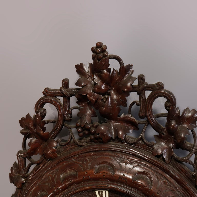 Victorian Antique German Carved Black Forest Grape and Vine Wall Clock, circa 1890 For Sale