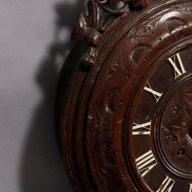 Antique German Carved Black Forest Grape and Vine Wall Clock, circa 1890 In Good Condition For Sale In Big Flats, NY