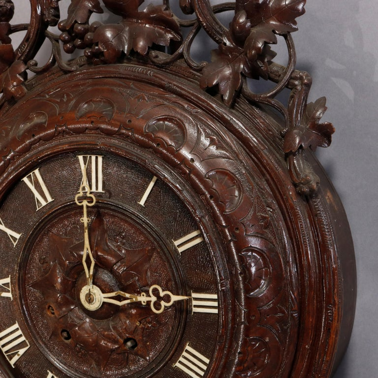 19th Century Antique German Carved Black Forest Grape and Vine Wall Clock, circa 1890 For Sale