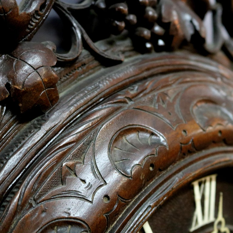 Antique German Carved Black Forest Grape and Vine Wall Clock, circa 1890 For Sale 3
