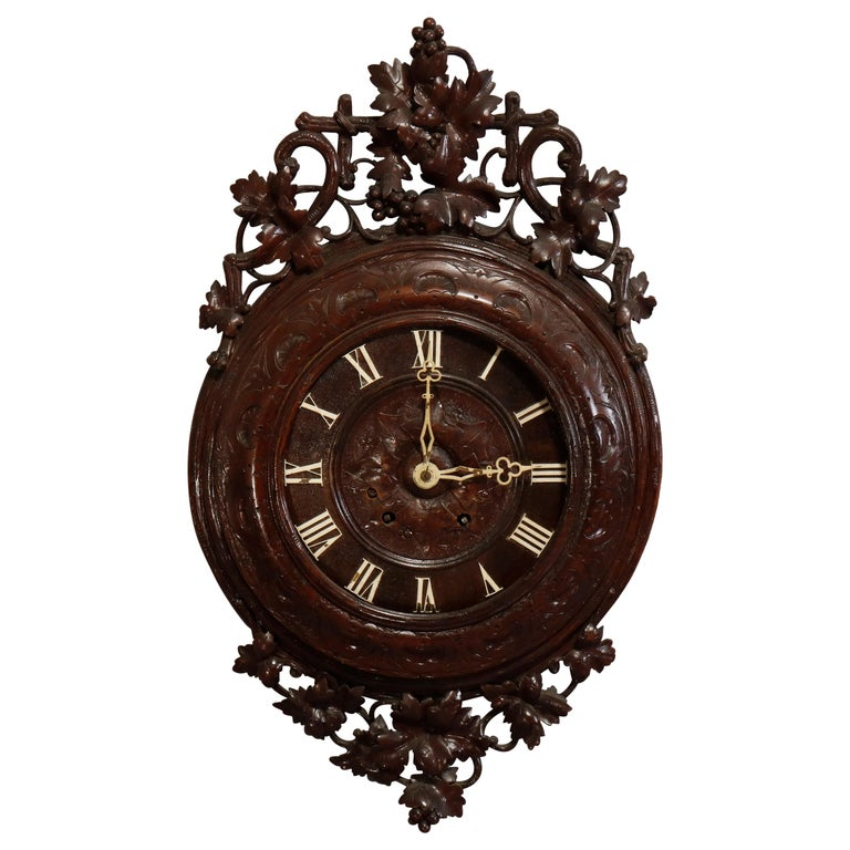 Antique German Carved Black Forest Grape and Vine Wall Clock, circa 1890 For Sale