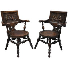 Antique German Carved Tiger Oak Drunken Monks Tavern Pub Armchairs a Pair