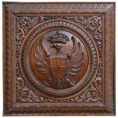 Antique German Carved Walnut Eagle Crest Plaque